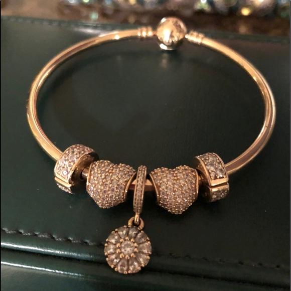 Pandora Jewelry 4kt Gold Pandora Bangle With Gold Charms Poshmark
